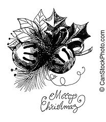 Christmas card - Two hand drawn Christmas bells, leaves, fir...