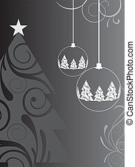 christmas card - vector illustration of a christmas tree and...