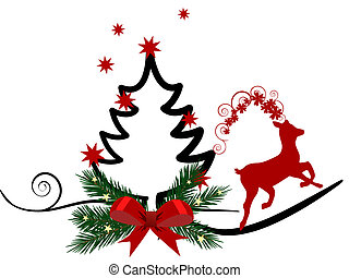 Vector illustration of a christmas tree and a roe deer
