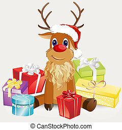 christmas card - vector illustration of colorful gifts ...