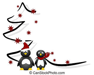 christmas card - vector illustration of penguins in front of...