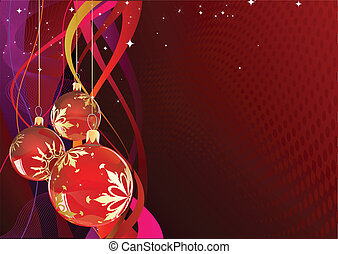 christmas card - Vector illustration of red Holiday card...