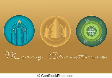 Christmas card vector on a gold background