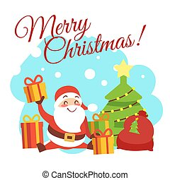 Christmas card vector template with cute cartoon character Santa, christmas tree and gift boxes