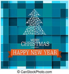 Christmas Card. Vector Xmas Design. Tree Made from Snowflakes on Blue Background.