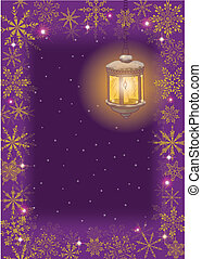 Christmas card: vintage lamp and snowflakes