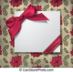 Christmas card - White paper label tied with red silk ribbon...