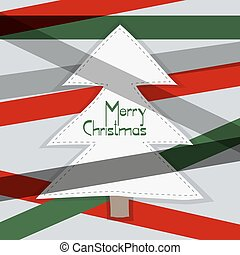 Christmas card White paper tree