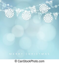Christmas card. Winter party decoration. Vector illustration with string of lights, paper cut snowflakes and blurred background.