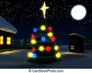 christmas card winter scene