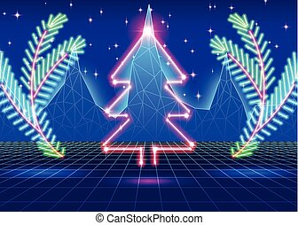 Christmas card with 80s neon tree