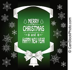 Christmas card with a  a bow, a ribbon and a Christmas bell. vector