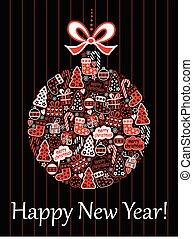 Christmas card with a ball