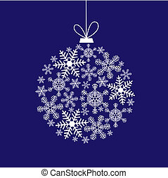 Christmas card with a ball of snowflakes