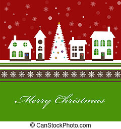 Christmas card with a beautiful little snow-covered winter town