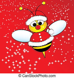 Christmas card with a bee - Christmas card for kids with a...