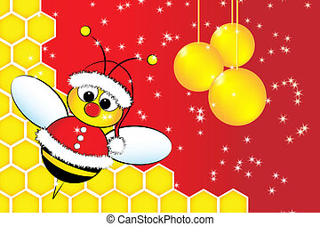 Christmas card with a bee Santa Claus and beehive