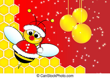 Christmas card with a bee Santa Claus and beehive - ...