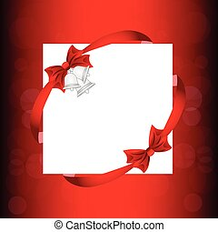 Christmas card with  a bow, a ribbon and a Christmas bell. vector