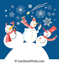 Christmas card with a cheerful snowman