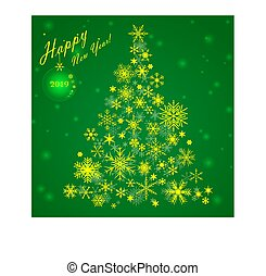 Christmas card with a Christmas tree of snowflakes
