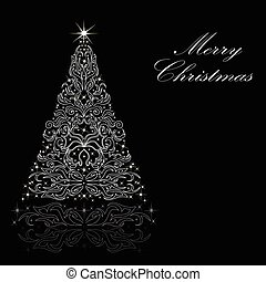 Christmas card with a Christmas tree. vector