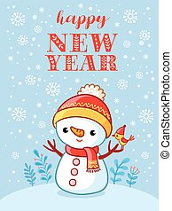 Christmas card with a cute and funny snowman.