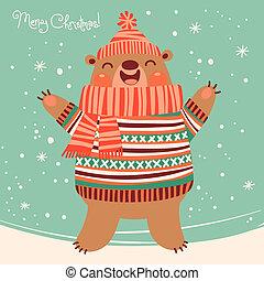 Christmas card with a cute brown bear.