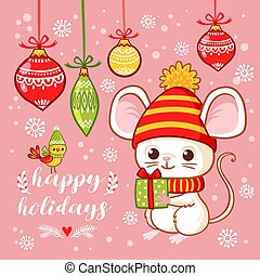 Christmas card with a cute little mouse that holds a gift in his hands on a pink background with Christmas toys.