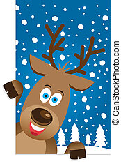 Christmas card with a cute reindeer