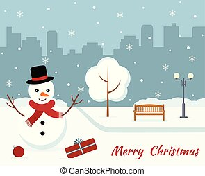 Christmas card with a cute snowman on city background.