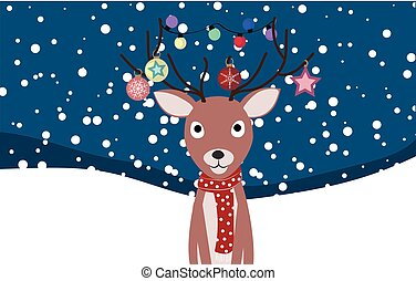 Christmas card with a deer, vector illustration