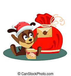 Christmas card with a dog holding an envelope from Santa Claus and sitting in front of big bag with gifts
