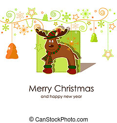 Christmas card with a fawn