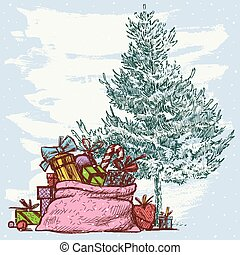 christmas card with a fir tree and christmas gifts
