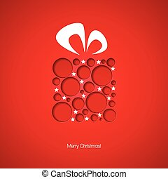 Christmas card with a gift. Vector illustration