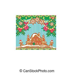 Christmas card with a ginger-bread