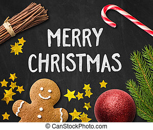 Christmas card with a gingerbread man and christmas decorations