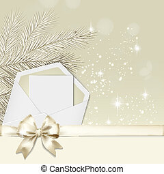 Christmas card with a gold bow and envelope