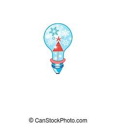 Christmas card with a light bulb