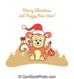 Christmas card with a monkey