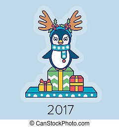 Christmas card with a penguin and gifts