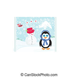 Christmas card with a penguin, santa claus and snowman