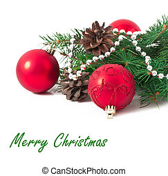 Christmas card with a red ball