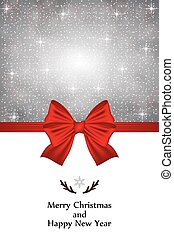 Christmas card with a red bow and snowflakes