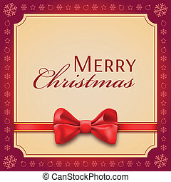 Christmas card with a red bow and ribbon