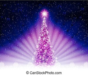 Christmas card with a shiny purple Christmas tree, rays of light.