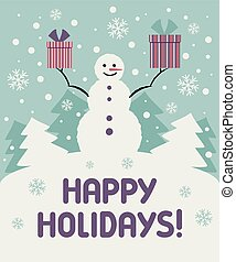 Christmas card with a snowman. Vector illustration.