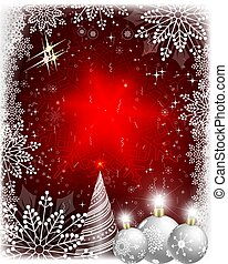Christmas card with a white fur-tree and balls with snowflakes.