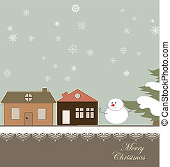 Christmas card with a winter town